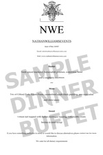 sample dinner buffet menu